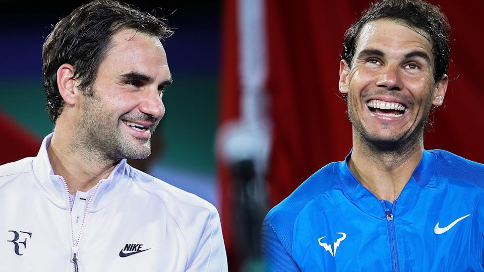 Roger Federer and Rafael Nadal, pictured here after the final of the 2017 Shanghai Masters.