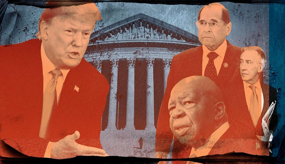 Time and time again, Trump's legal complaints argue over the language of the Watkins v. United States decision. But Trump's lawyers are cherry-picking their preferred lines. (Photo: Illustration: Damon Dahlen/HuffPost; Photos: Getty)