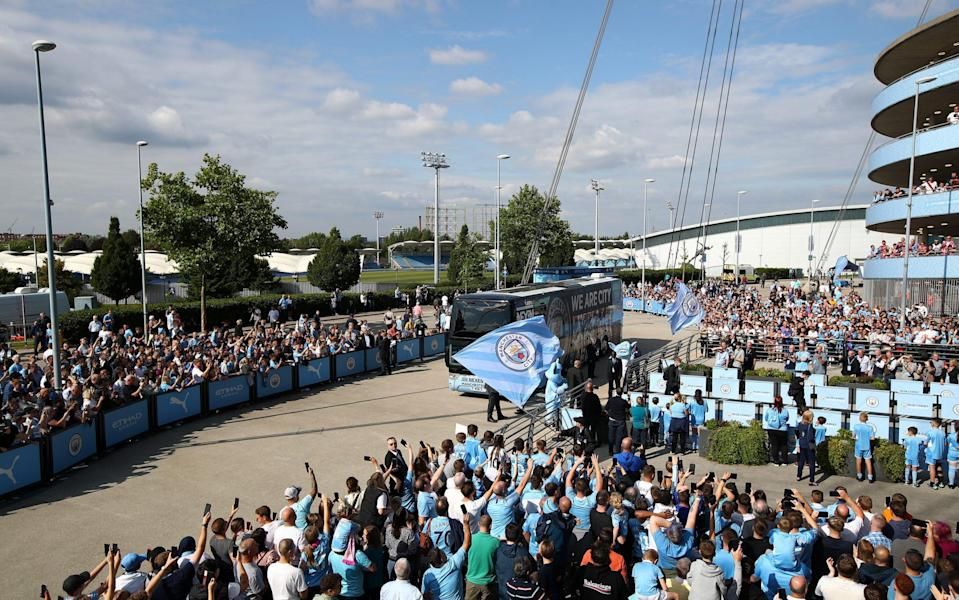 A general view outside the stadium as the Manchester City team - Getty Images