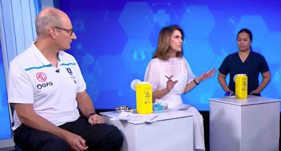 Sunrise hosts David Koch and Natalie Barr receive their Covid vaccinations live on air.