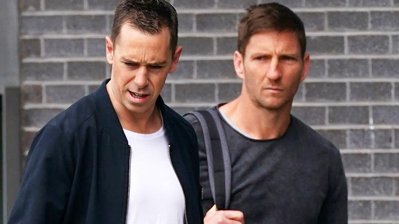 Collingwood assistant coaches Nick Maxwell and Matthew Boyd, pictured here at Magpies headquarters.