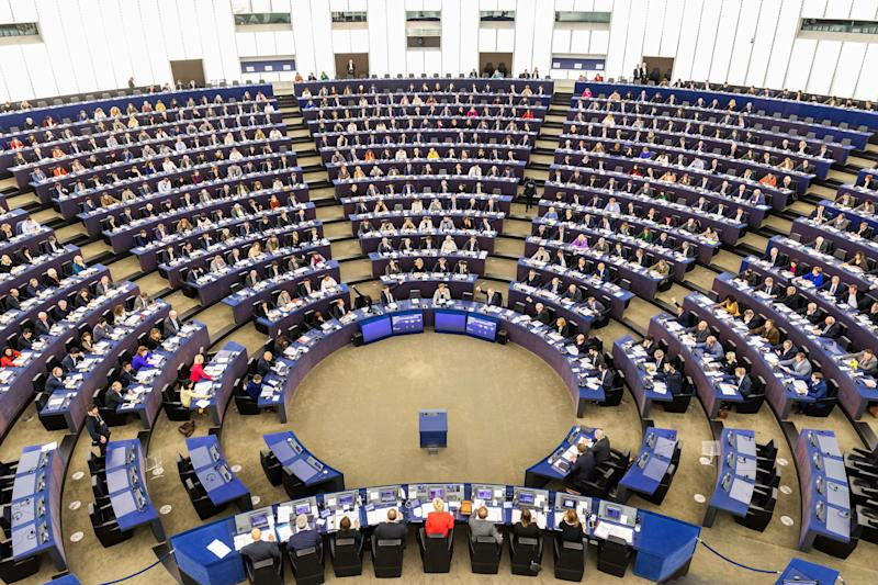 dpatop - 12 February 2020, France, Straßburg: Members of the European Parliament sit in the plenary chamber of the European Parliament during a vote. Among other things, MEPs will vote today on a free trade agreement with Vietnam. Photo: Philipp von Ditfurth/dpa (Photo by Philipp von Ditfurth/picture alliance via Getty Images) (Photo: picture alliance via Getty Images)