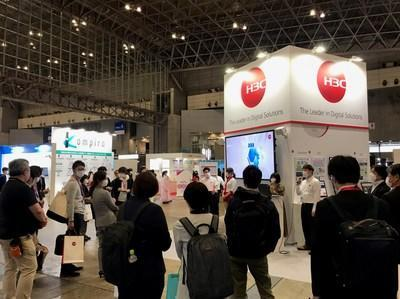 The H3C exhibition stand at Interop Tokyo 2021 has attracted many customers and partners onsite.