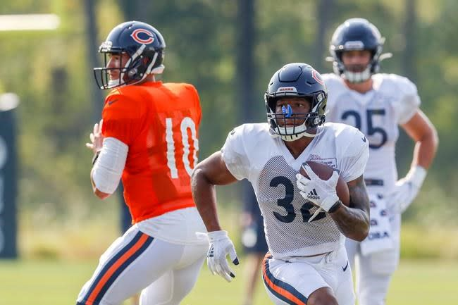 Bears RB Montgomery limps off practice field