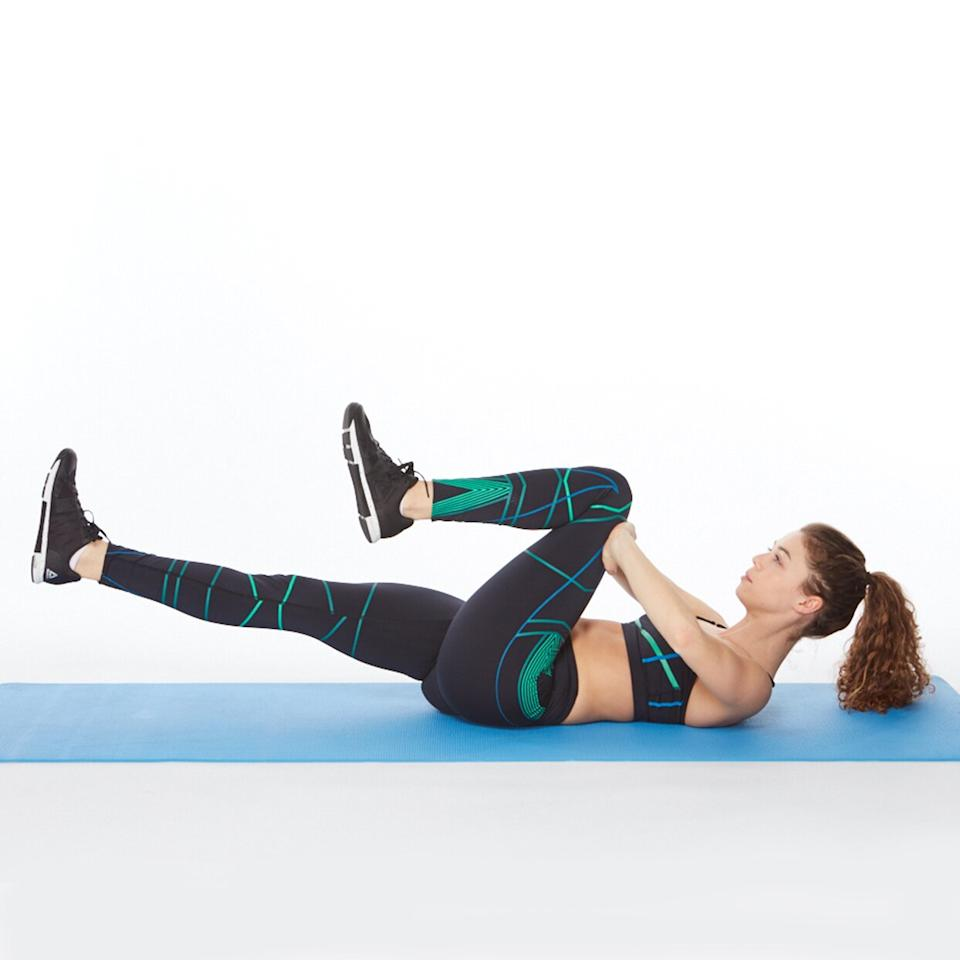 "<p>This <a href=""https://www.shape.com/fitness/workouts/pumped-pilates-workout-sleek-strong-body"" target=""_blank"">Pilates-inspired move</a> uses the same pressing action as the static press to deepen the engagement of your abdominals. The weight of your extended leg makes it more challenging. (Related: <a href=""https://admin.web.shape.com/fitness/workouts/abs-workout-fastest-way-lose-belly-fat"" target=""_blank"">Stop Searching for ""How to Get Rid of Belly Flab"" and Start Utilizing Our Ultimate Plan to Lose Belly Fat</a>)</p> <p><strong>How to do it:</strong> Lie on back and bend both knees into your chest, feet flexed. Interlace fingers on top of right thigh and extend left leg out parallel to the floor. Lift head and shoulders off the floor, curling up over the top of ribcage and looking at legs. Press palms against right thigh while tipping pelvis to bring right knee in toward chest (your hands should add resistance to your leg). Switch legs and press palms against the left thigh as right leg extends parallel to the floor. That's 1 rep. Do up to 3 sets of 10 repetitions in a row.</p> <p><strong>Make it harder:</strong> Keep both legs straight, pressing against the top of thigh as one leg pulls in, and then perform a scissoring action to switch sides.</p> <p><strong>Mind your muscle tip:</strong> As you push against your thigh, imagine you are pulling your leg into your chest with your abs. Focus on feeling the extra resistance in the abs, not your thighs or hip flexors.</p>"