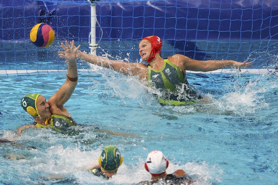 <p>A goal is scored by Canada against Australia's Lea Yanitsas during the women's preliminary round.</p>