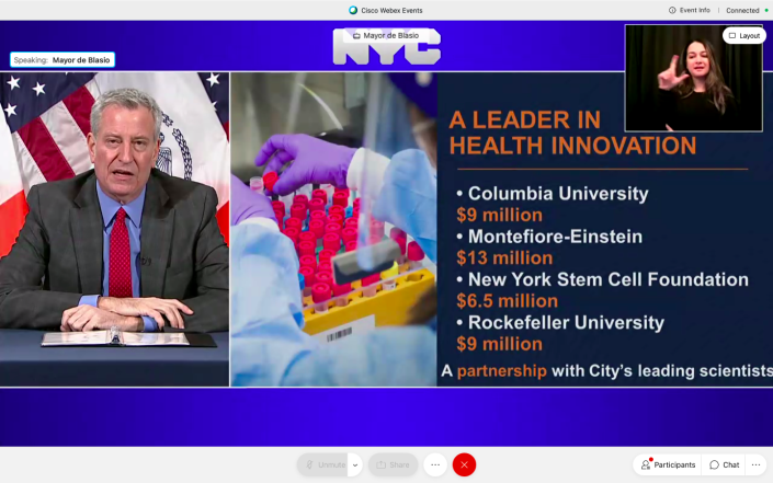 Mayor Bill de Blasio on Thursday announced $38 million in grants going to four top research institutions in the city. (NYC Mayor's Office)