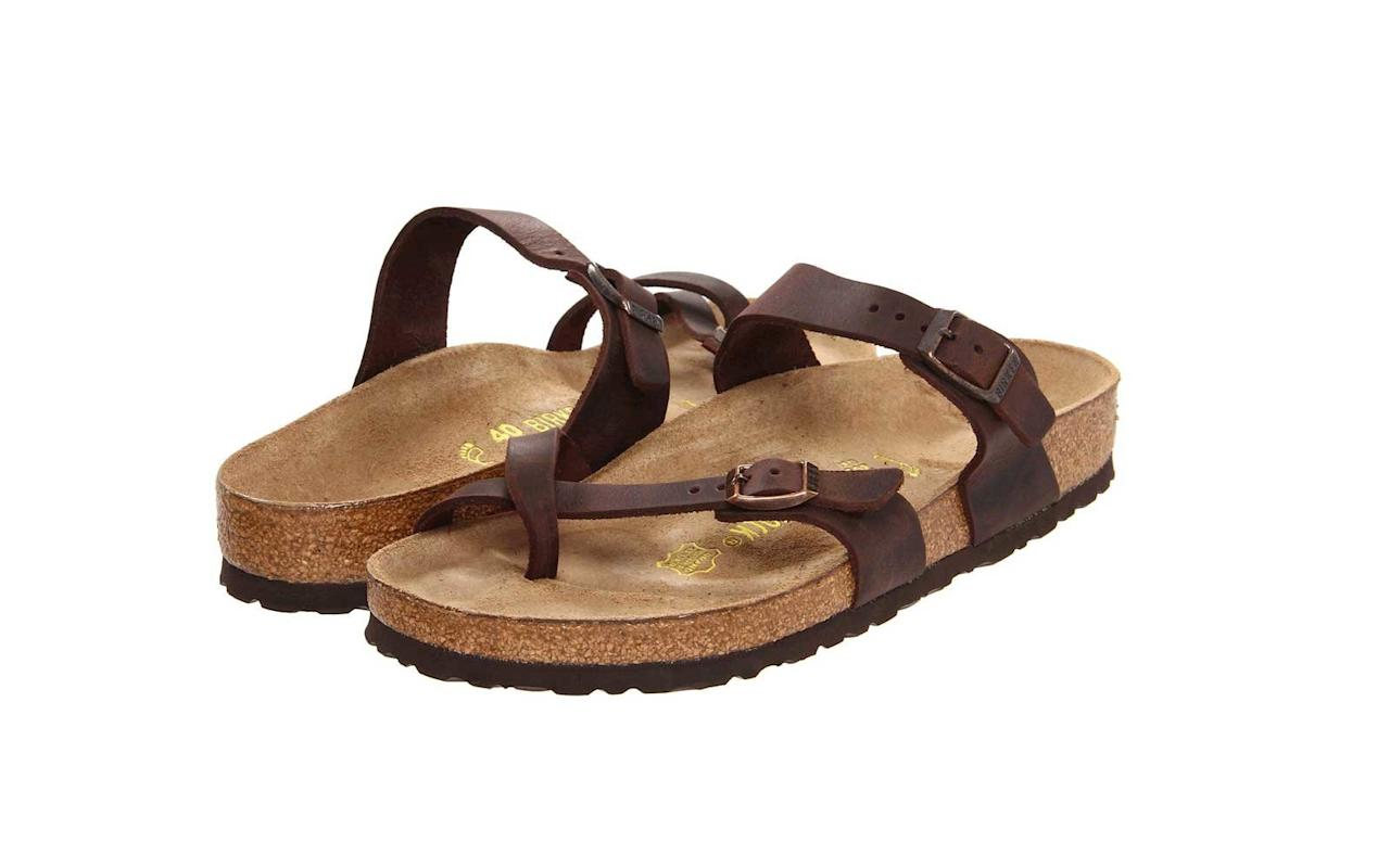 """<p>You almost can't talk about comfortable sandals without Birkenstock coming up. The brand's website claims it invented the contoured footbed in the 1930s — and it still stands behind its anatomically designed, suede-topped footbeds with deep, cradling heel cups, four posture-enhancing arches, and a raised toe bar. The buckles on both straps are adjustable so you can get a secure fit. One enthusiastic reviewer who has worn the style to Disney World and National Parks like Zion and Bryce Canyon said, """"Nothing ever rubs, there is no break-in required… I can't stand a thong between my first and second toe, but with these, you can't even feel it. I hope they never get rid of this style.""""</p> <p>To buy: <a href=""""http://www.anrdoezrs.net/links/7876402/type/dlg/sid/TL%2CGetRidofYourRubberFlip-flops%25E2%2580%2594TheseAretheComfyWalkingSandalsYouNeedInstead%2Cszypulsr%2CSHO%2CGAL%2C669994%2C201910%2CI/https://www.zappos.com/p/birkenstock-mayari-habana-oiled-leather/product/7616338/color/208913"""" target=""""_blank"""">zappos.com</a>, $100</p>"""