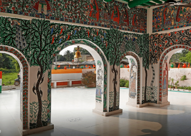 The interior walls of the Ram Janki temple. It was painted by 6 artists
