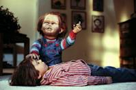 """<p><strong><em>Child's Play</em></strong></p><p>A mother unknowingly gifts her son a doll possessed by the soul of a serial killer. <br></p><p><a class=""""link rapid-noclick-resp"""" href=""""https://www.amazon.com/Childs-Play-Catherine-Hicks/dp/B000IZ21BS/?tag=syn-yahoo-20&ascsubtag=%5Bartid%7C10055.g.29120903%5Bsrc%7Cyahoo-us"""" rel=""""nofollow noopener"""" target=""""_blank"""" data-ylk=""""slk:WATCH NOW"""">WATCH NOW</a></p>"""