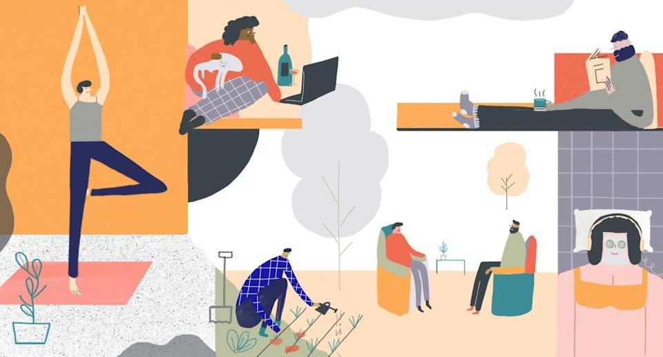 People are practicing self-care more now than ever before. (Illustration: Hannah Jacobs for Yahoo Beauty)