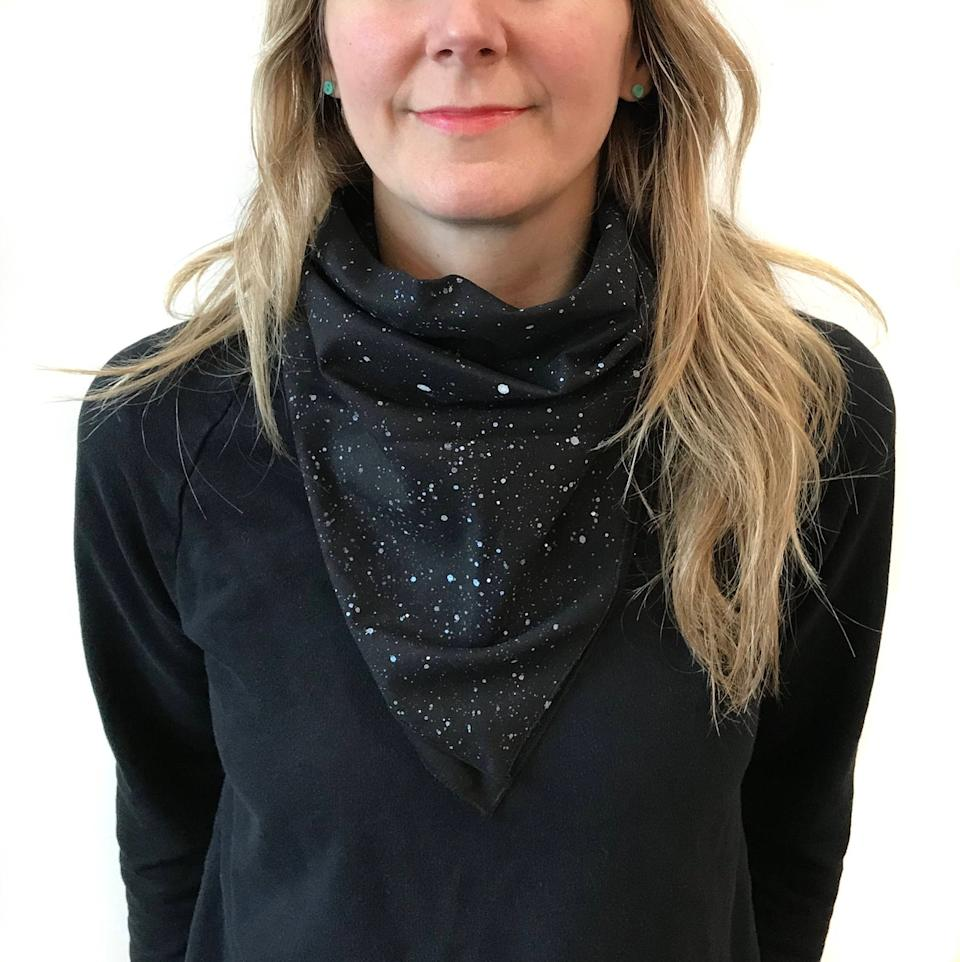 """<br><br><strong>A Little Lark</strong> Galaxy Space Bandana, $, available at <a href=""""https://go.skimresources.com/?id=30283X879131&url=https%3A%2F%2Ffave.co%2F2x0aB8S"""" rel=""""nofollow noopener"""" target=""""_blank"""" data-ylk=""""slk:Etsy"""" class=""""link rapid-noclick-resp"""">Etsy</a>"""