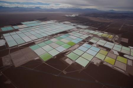 FILE PHOTO: An aerial view shows the brine pools of SQM lithium mine on the Atacama salt flat in the Atacama desert of northern Chile