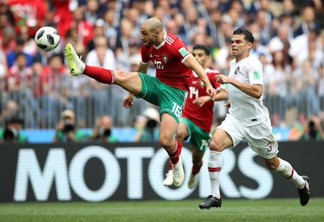 Soccer Football - World Cup - Group B - Portugal vs Morocco - Luzhniki Stadium, Moscow, Russia - June 20, 2018 Morocco's Nordin Amrabat in action with Portugal's Pepe REUTERS/Carl Recine