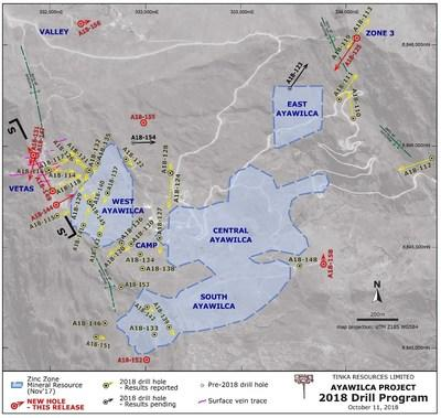 Figure 1. Geological Map of Ayawilca (CNW Group/Tinka Resources Limited)