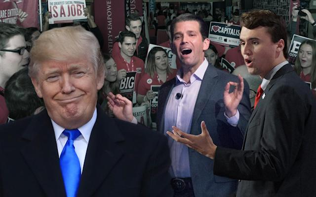 Donald Trump, Donald Trump Jr., and Charlie Kirk. (Yahoo News photo illustration; AP, Damon Higgins/The Palm Beach Post via Zuma Wire, Jeff Swensen/Getty Images, Jeff Malet/NC via Zuma Press)