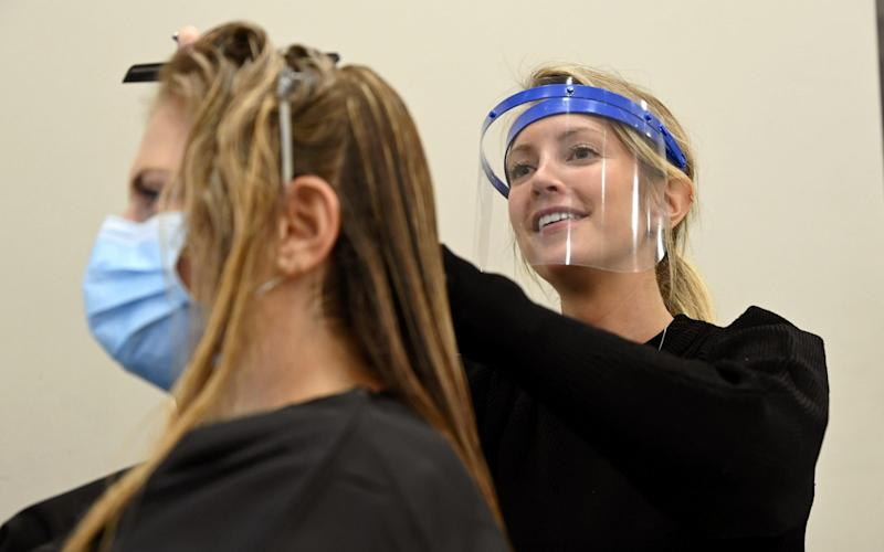A client gets her hair done at the Jo Hansford salon in Mayfair - Karwai Tang/Getty Images