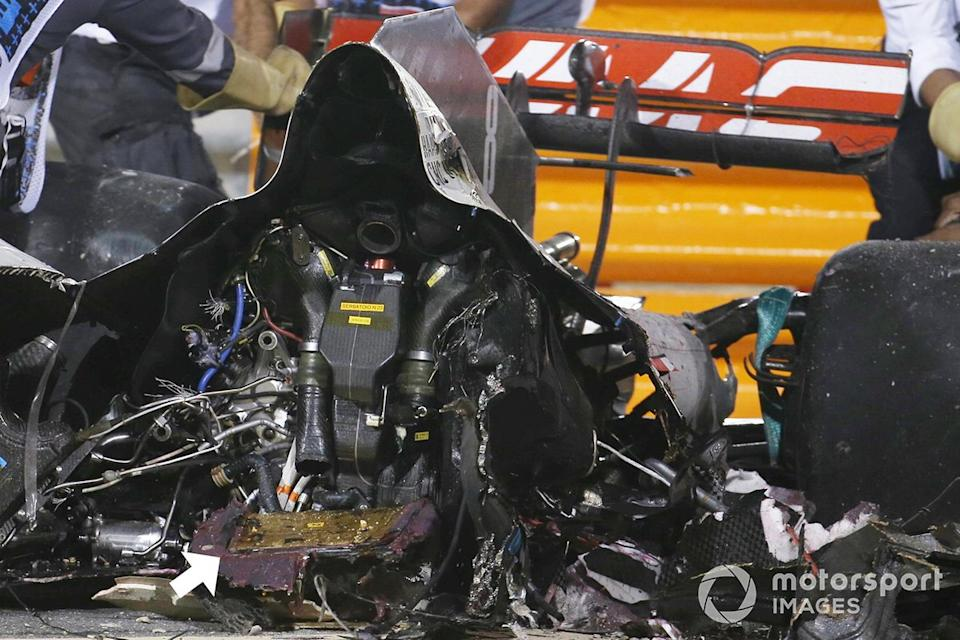 """Detail of the battery on the remains of the car of Romain Grosjean, Haas VF-20 <span class=""""copyright"""">Motorsport Images</span>"""