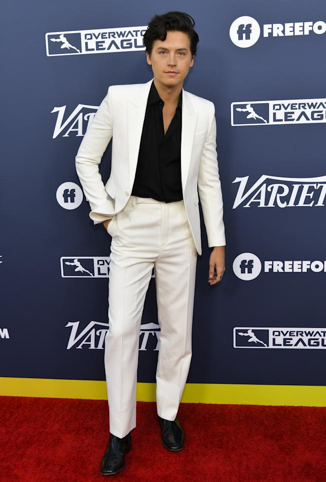 """WHAT:  Saint Laurent by Anthony Vaccarello WHERE: Variety's """"Power Of Young Hollywood"""" event in Los Angeles<br> WHEN: August 6, 2019<br> WHY: A black suit and white dress shirt is classic. Flipped inside out and it's a gigantic summer fit."""
