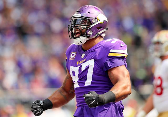 "<a class=""link rapid-noclick-resp"" href=""/nfl/teams/min"" data-ylk=""slk:Minnesota Vikings"">Minnesota Vikings</a> defensive end <a class=""link rapid-noclick-resp"" href=""/nfl/players/24075/"" data-ylk=""slk:Everson Griffen"">Everson Griffen</a> reportedly threatened to shoot someone at a downtown Minneapolis hotel last weekend, and has been absent from the team since. (Getty Images)"