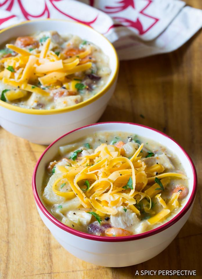 """<p>Cheese is an optional garnish for this veggie-packed, potato-based chicken soup. So, be as healthy as you feel like. Get the recipe <a rel=""""nofollow"""" href=""""http://www.aspicyperspective.com/healthy-slow-cooker-chicken-potato-soup/2?mbid=synd_yahoofood"""">here</a>.</p>"""