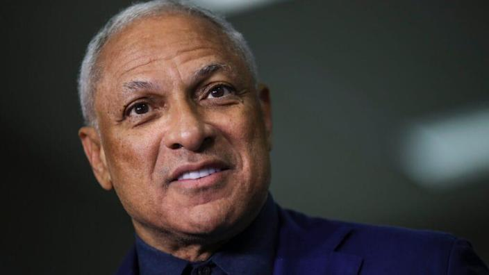 Democratic U.S. Senate candidate Mike Espy speaks to reporters at Highland Colony Baptist Church in Ridgeland, Mississippi after voting in 2018's special runoff election there. (Photo by Drew Angerer/Getty Images)