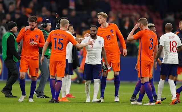 Soccer Football - International Friendly - Netherlands vs England - Johan Cruijff Arena, Amsterdam, Netherlands - March 23, 2018 England's Danny Rose and Netherlands' Donny van de Beek after the match Action Images via Reuters/John Sibley