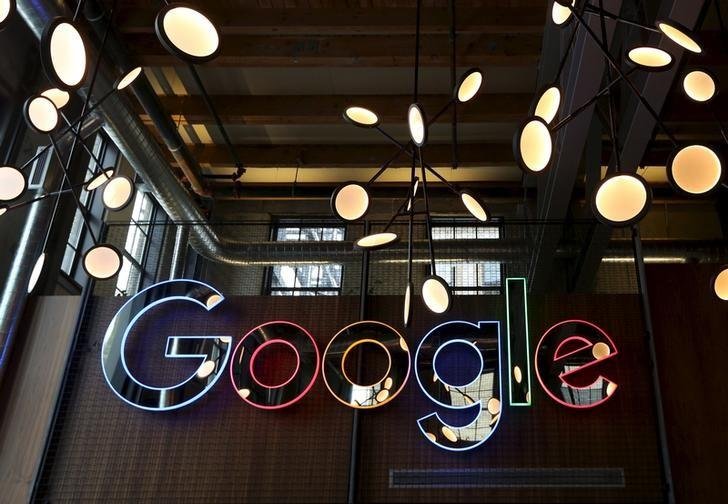 The neon Google sign in the foyer of Google's new Canadian engineering headquarters in Kitchener-Waterloo