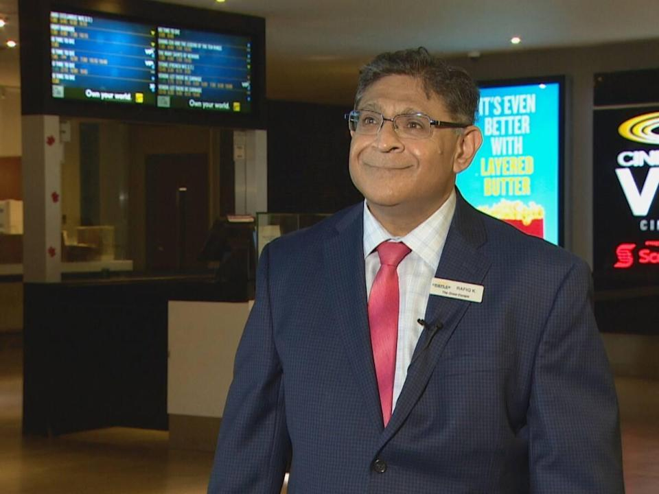Rafiq Khimani, general manager of Cineplex Cinemas Varsity and VIP, 55Bloor St.W., said he is thrilled that cinemas can now operate at full capacity. (CBC - image credit)