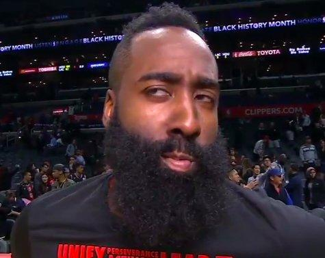 James Harden is sorry, but he's just thinking of the right words to say. (Screencap via Whitney Medworth of SB Nation)