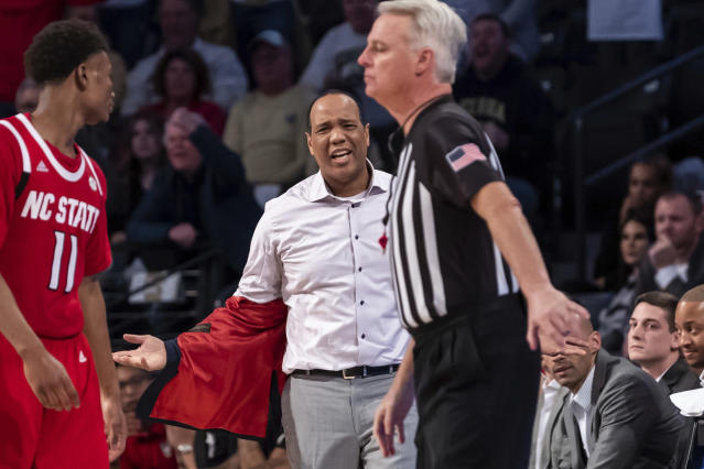 North Carolina State head coach Kevin Keatts reacts in the second half of an NCAA college basketball game against Georgia Tech Saturday, Jan. 25, 2020, in Atlanta. Georgia Tech won 64-58. (AP Photo/Danny Karnik)