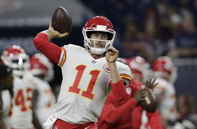 The Kansas City Chiefs offense, led by quarterback Alex Smith, ranks second in the NFL with 414 yards per game and the Chiefs lead the league with 6.64 yards per play and 32.9 points per game (AFP Photo/Tim Warner)