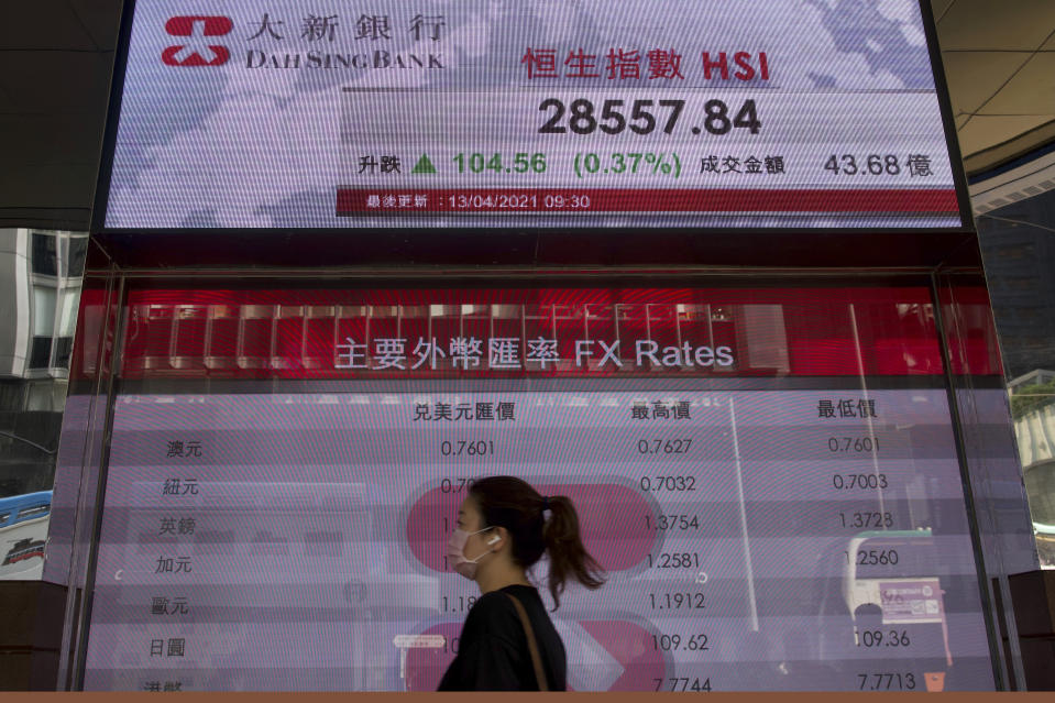 A woman wearing a face mask walks past a bank's electronic board showing the Hong Kong share index at Hong Kong Stock Exchange in Hong Kong Tuesday, April 13, 2021. Asian shares were mostly higher on Tuesday with hopes growing for a global economic rebound despite worries over renewed surges in coronavirus cases. (AP Photo/Vincent Yu)