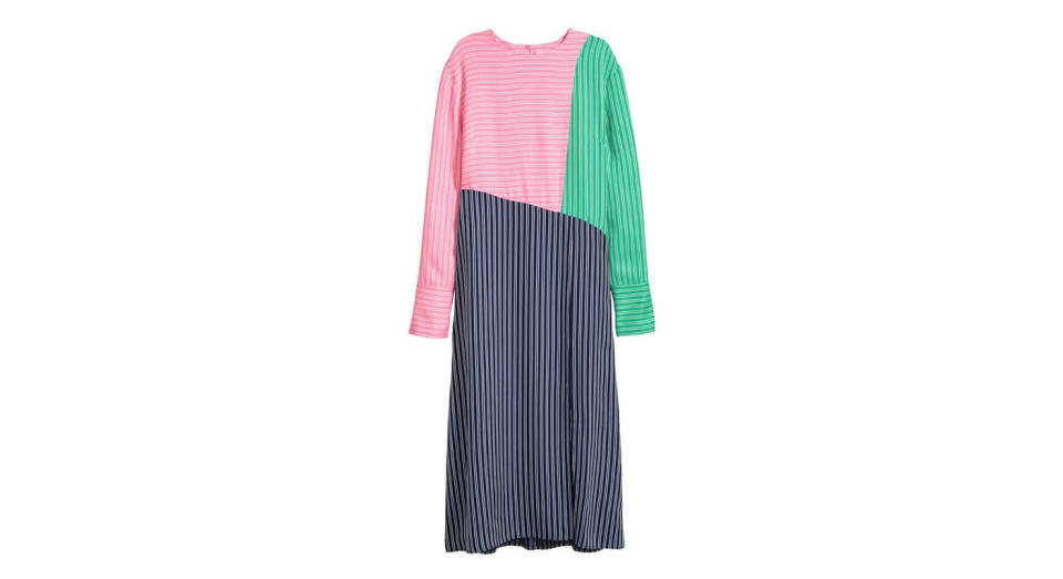 """<p>Inject a pop of colour into your new year wardrobe with this striped number. <a rel=""""nofollow noopener"""" href=""""http://www2.hm.com/en_gb/productpage.0611566001.html"""" target=""""_blank"""" data-ylk=""""slk:Buy here."""" class=""""link rapid-noclick-resp""""><em>Buy here.</em></a> </p>"""