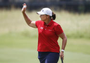 Angela Stanford waves to the gallery after making a birdie on the second hole during the final round of the LPGA Volunteers of America Classic golf tournament in The Colony, Texas, Sunday, July 4, 2021. (AP Photo/Ray Carlin)