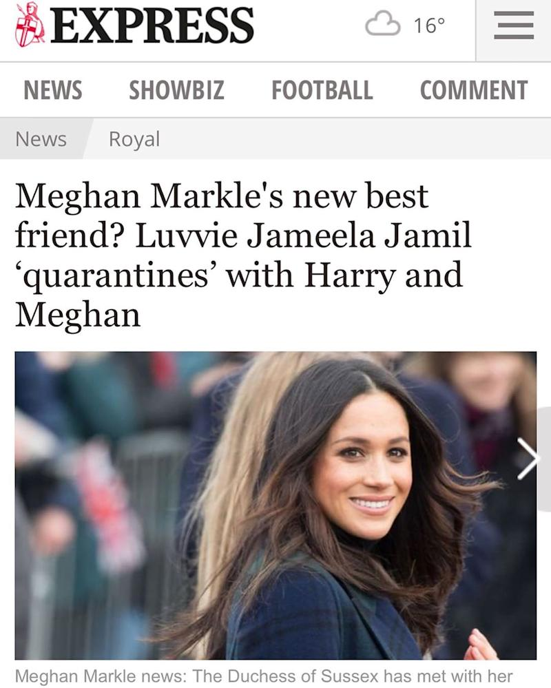 Jameela shared a screenshot of a story that suggested that and the Duchess were 'best friends'. Photo: Instagram/jameelajamilofficial.