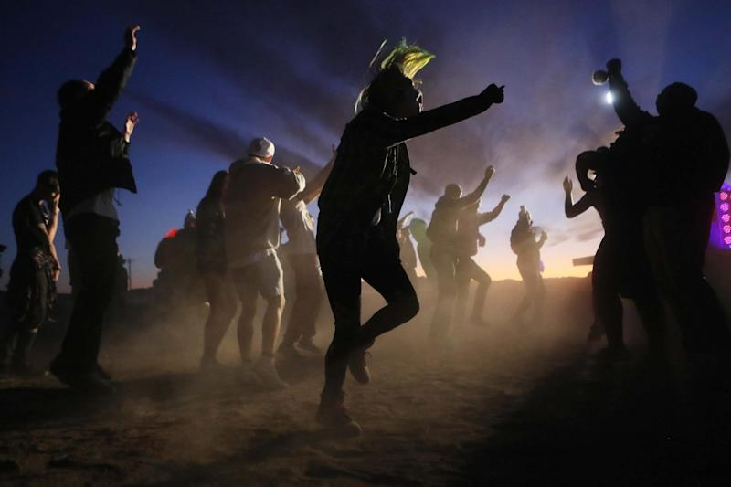 Revellers dance at the 'Storm Area 51' spinoff event 'Alienstock' after another was called off. (Getty Images)