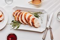 """If your Thanksgiving crew is smaller this year, your recipes needs will be different, too. Not looking for tons of leftovers? This moist and flavorful turkey breast is just the right amount to serve two with leftovers, or four for dinner. <a href=""""https://www.epicurious.com/recipes/food/views/turkey-for-two-with-pan-sauce-gravy?mbid=synd_yahoo_rss"""" rel=""""nofollow noopener"""" target=""""_blank"""" data-ylk=""""slk:See recipe."""" class=""""link rapid-noclick-resp"""">See recipe.</a>"""