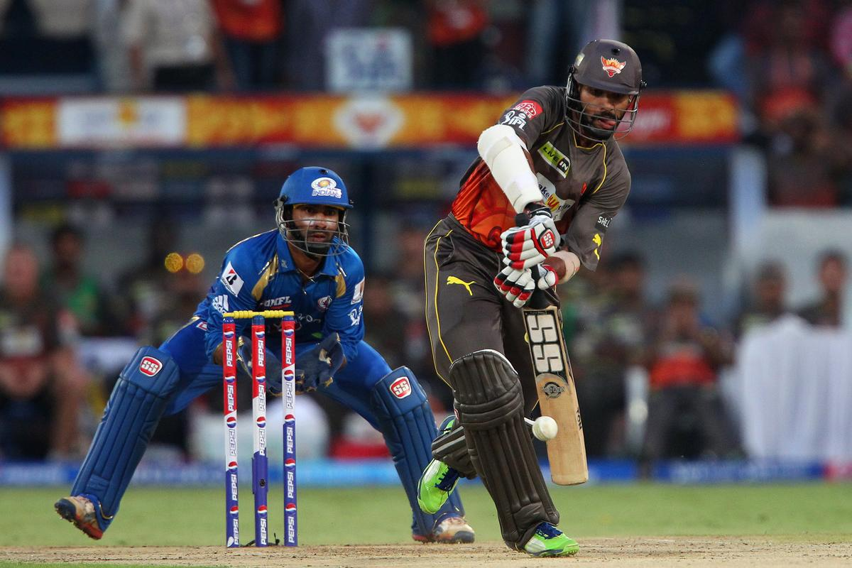 Shikhar Dhawan during match 43 of the Pepsi Indian Premier League between The Sunrisers Hyderabad and Mumbai Indians held at the Rajiv Gandhi International  Stadium, Hyderabad  on the 1st May 2013..Photo by Ron Gaunt-IPL-SPORTZPICS ..Use of this image is subject to the terms and conditions as outlined by the BCCI. These terms can be found by following this link:..https://ec.yimg.com/ec?url=http%3a%2f%2fwww.sportzpics.co.za%2fimage%2fI0000SoRagM2cIEc&t=1500735395&sig=UwP7Lc_dhc_aUEwUG5eA3w--~C