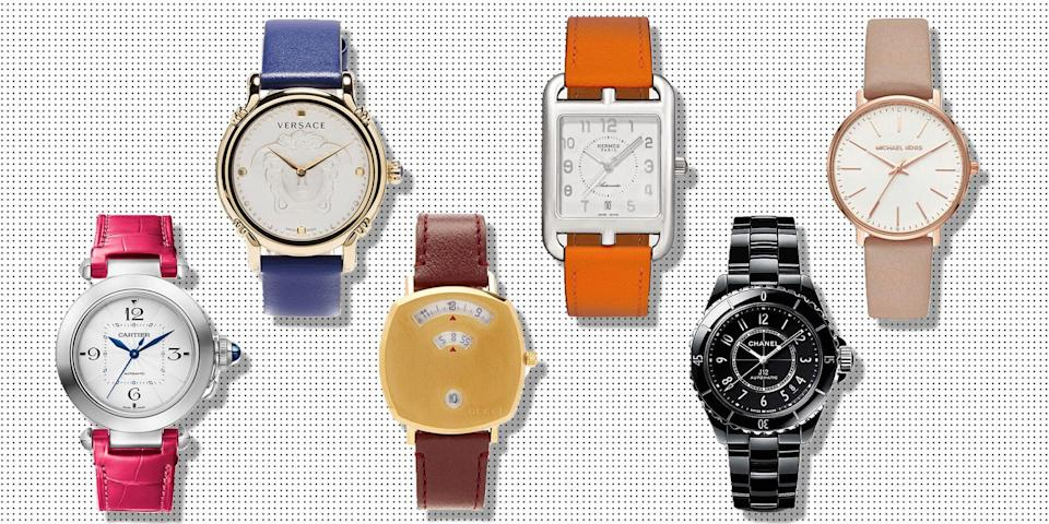 """<p>Watches, much like <a href=""""https://www.elle.com/uk/fashion/what-to-wear/a30859/best-investment-bags/"""" rel=""""nofollow noopener"""" target=""""_blank"""" data-ylk=""""slk:handbags"""" class=""""link rapid-noclick-resp"""">handbags</a> and <a href=""""https://www.elle.com/uk/fashion/what-to-wear/articles/a32513/best-investment-designer-shoes-chanel-gucci-louboutin-manolo-blahnik-chloe-balenciaga/"""" rel=""""nofollow noopener"""" target=""""_blank"""" data-ylk=""""slk:shoes"""" class=""""link rapid-noclick-resp"""">shoes</a>, are true investment pieces that will elevate even the simplest <a href=""""https://www.elle.com/uk/fashion/what-to-wear/articles/g30767/best-white-shirts-to-buy-now/"""" rel=""""nofollow noopener"""" target=""""_blank"""" data-ylk=""""slk:shirt"""" class=""""link rapid-noclick-resp"""">shirt</a> and <a href=""""https://www.elle.com/uk/fashion/trends/a32337/best-denim-jeans-style-trends/"""" rel=""""nofollow noopener"""" target=""""_blank"""" data-ylk=""""slk:jeans"""" class=""""link rapid-noclick-resp"""">jeans</a> ensemble. However, whether you're looking for the ultimate status symbol or a sentimental heirloom, deciding which watch to invest in can feel overwhelming. You've got cutting edge technology bringing you smartwatches that are both chic but also extremely useful for tracking life admin and health data, right through to classic timepieces that you may end up passing down from generation to generation, which makes finding perfect women's watch a tricky pursuit.</p><p>Thankfully we've sourced <strong>23 of the coolest watches for women</strong> for you to shop now:</p>"""