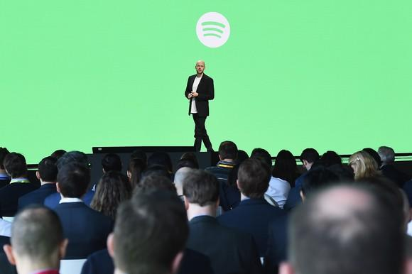 Spotify CEO Daniel Ek speaking on stage