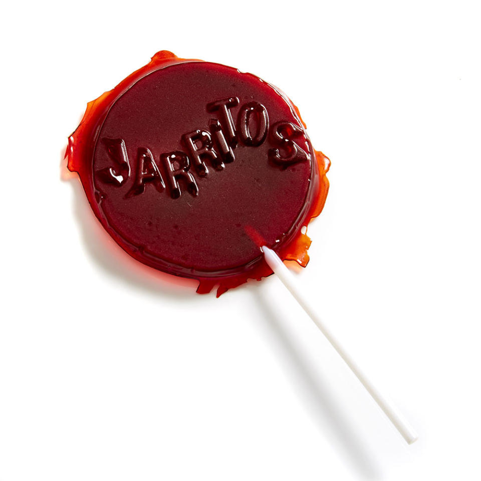<p>A lollipop made from dehydrated sugar from Jarritos soda.</p><p><i>(Photo: Henry Hargreaves)</i></p>