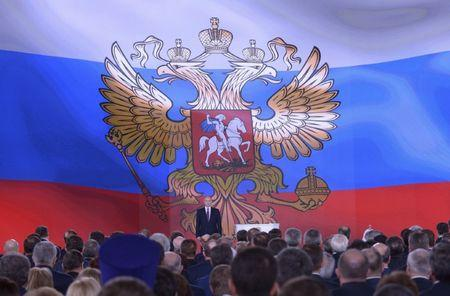 Russian President Putin delivers his annual state of the nation address to the Federal Assembly in Moscow