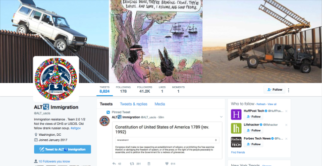 Twitter account @ALT_USCIS US government lawsuit screenshot profile