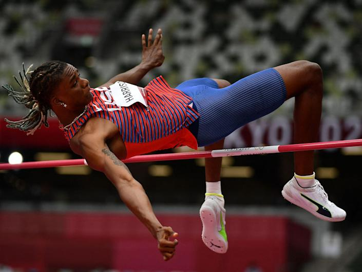 Juvaughn Harrison competes in the men's high jump qualification at Tokyo 2020.