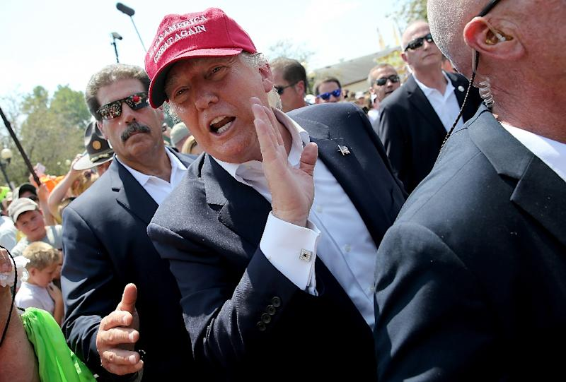 Republican presidential candidate Donald Trump greets fairgoers while campaigning at the Iowa State Fair on August 15, 2015 in Des Moines, Iowa (AFP Photo/Win Mcnamee)