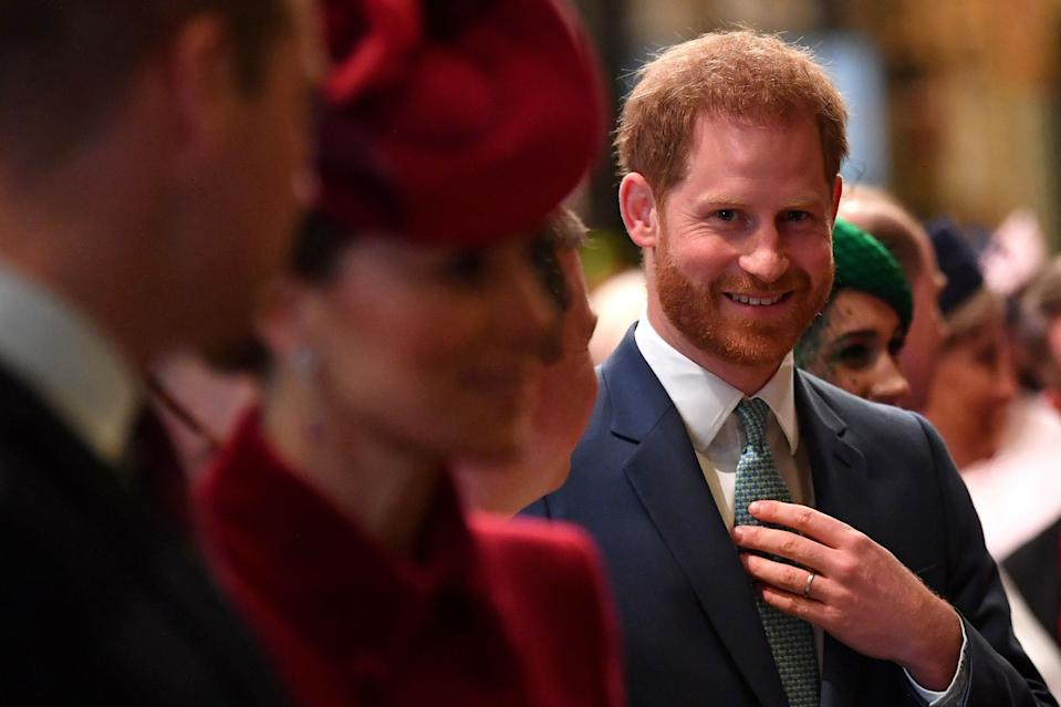 Britain's Prince Harry, Duke of Sussex (C) is introduced to performers as he leaves with Britain's Prince William, Duke of Cambridge (L) and Britain's Catherine, Duchess of Cambridge (2L) after attending  the annual Commonwealth Service at Westminster Abbey in London on March 09, 2020. - Britain's Queen Elizabeth II has been the Head of the Commonwealth throughout her reign. Organised by the Royal Commonwealth Society, the Service is the largest annual inter-faith gathering in the United Kingdom. (Photo by Ben STANSALL / POOL / AFP) (Photo by BEN STANSALL/POOL/AFP via Getty Images)