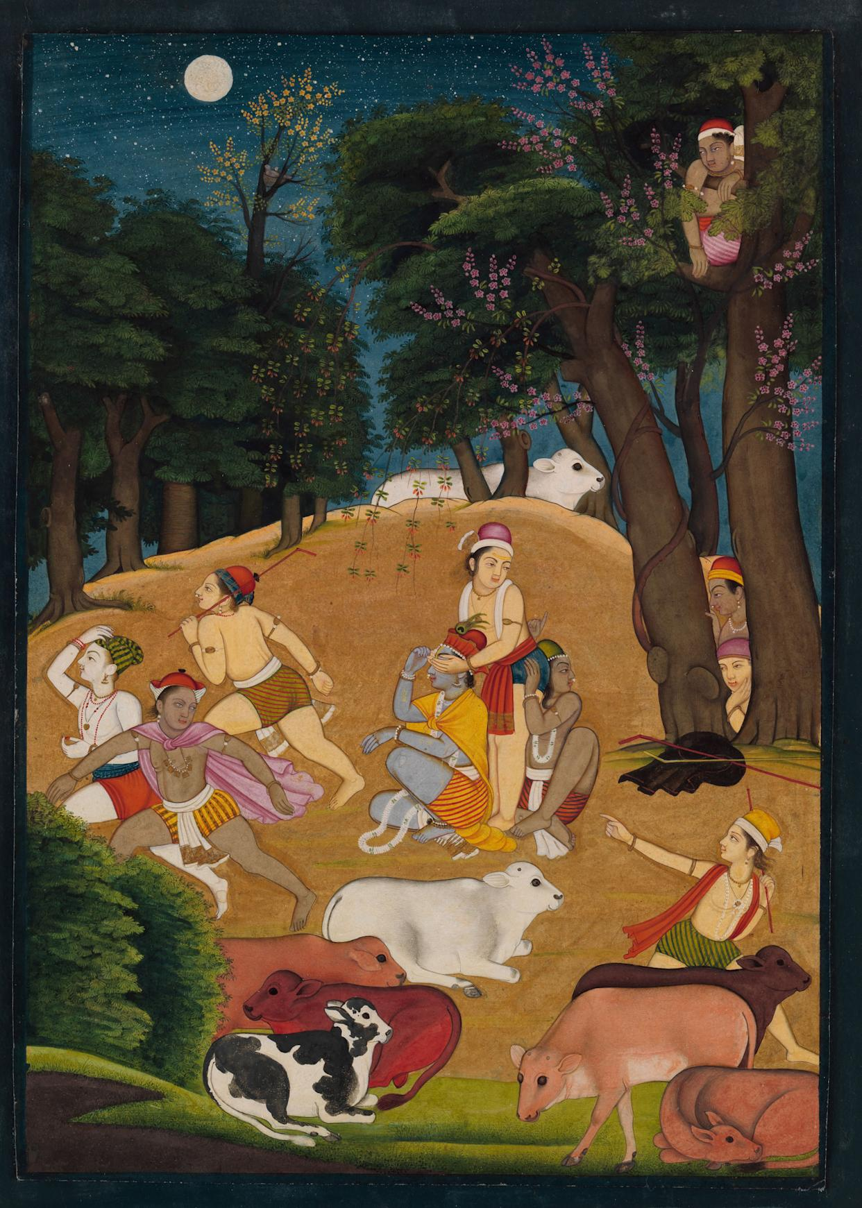 """""""Hide-and-Seek: Krishna Playing a Game with theGopas (Cowherds)""""Ascribed to the artist Manaku (ca. 1700–ca. 1760)Punjab Hills, kingdom of Guler, ca. 1750–55.Opaque watercolor, ink, and gold on paper; narrowdark blue border (probably trimmed); painting 9 5/8 x 6. Promised Gift of the Kronos Collections, 2015."""