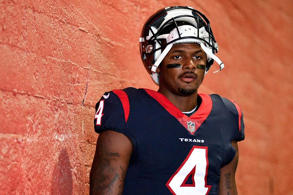 In this Aug. 25, 2018, file photo, Houston Texans quarterback Deshaun Watson prepares to take the field prior to an NFL preseason football game against the Los Angeles Rams in Los Angeles.