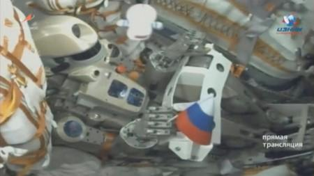 A still image shows robot Skybot F-850 inside a spacecraft carried by Soyuz-2.1a booster after the launch from the Baikonur Cosmodrome